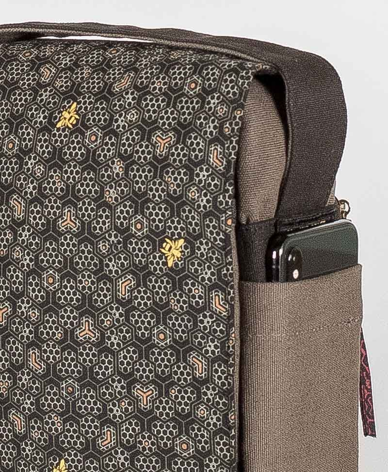 psy trance festival bag crossbody vegan canvas bee hive