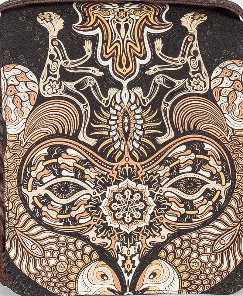 psy trance festival bag crossbody canvas sacred geometry Hamsa