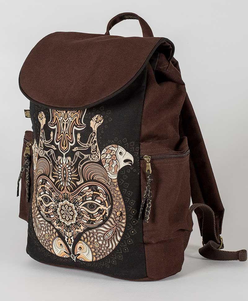 psy trance canvas laptop backpack sacred geometry hamsa