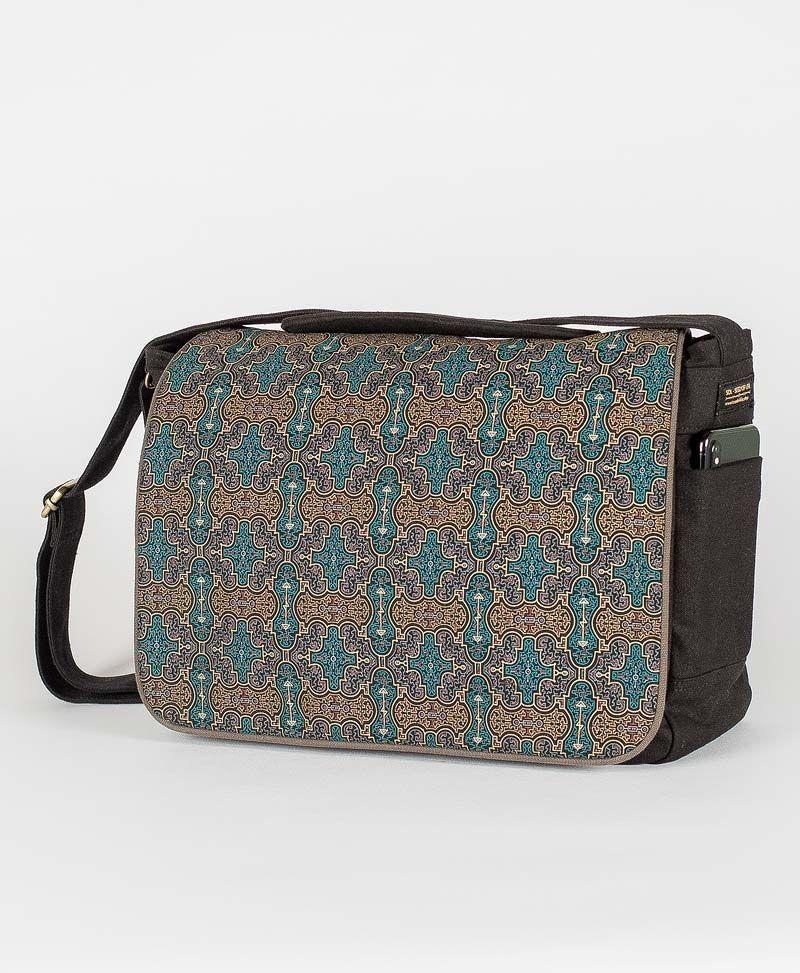 psytrance clothing canvas messenger laptop bag shipibo