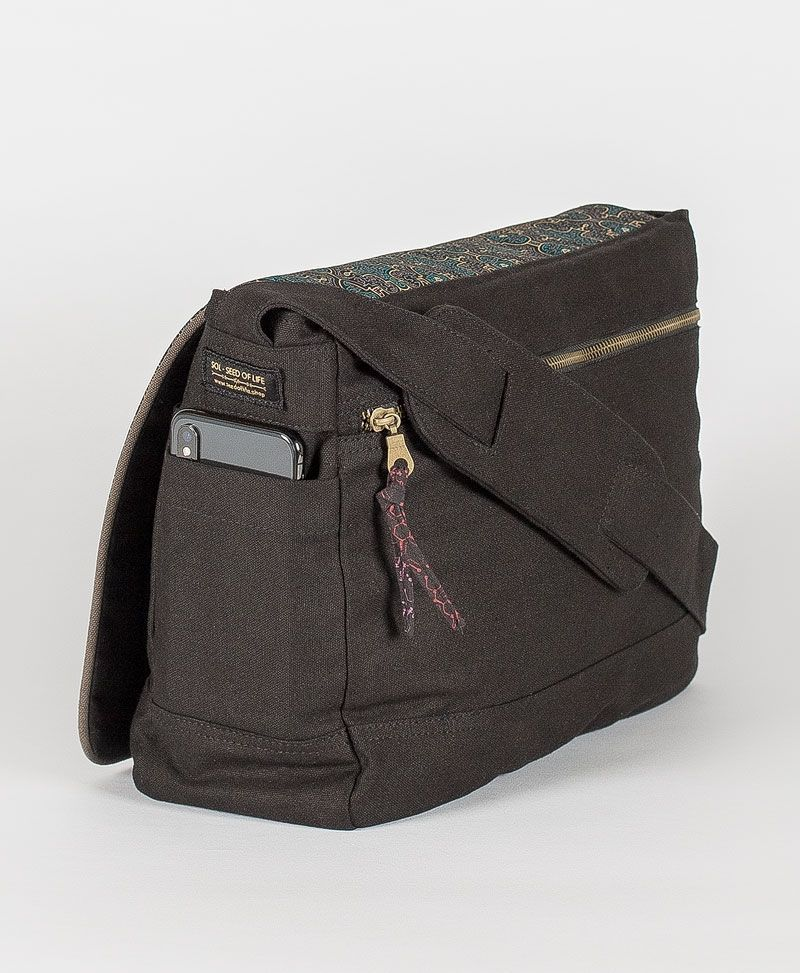 psytrance clothing canvas messenger laptop bag shipibo