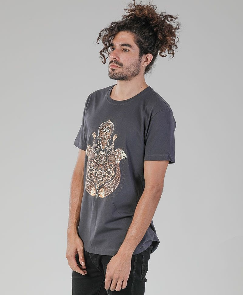 psychedelic clothing men hamsa t shirt grey