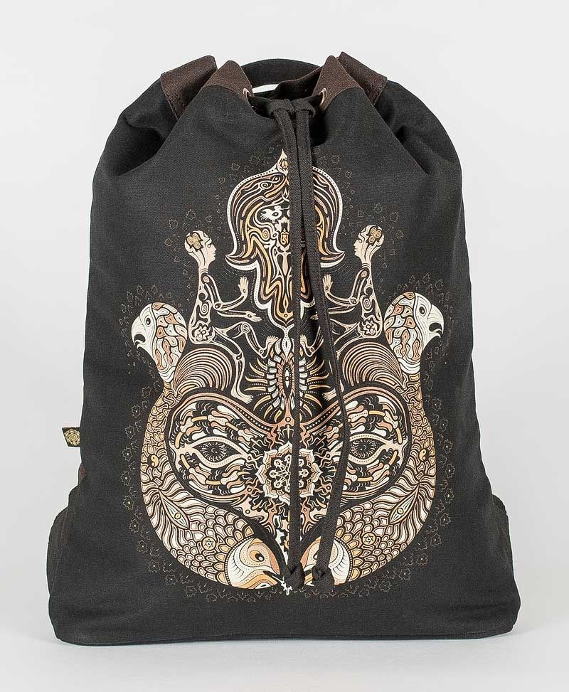 psy trance festival drawstring backpack canvas sack bag hamsa