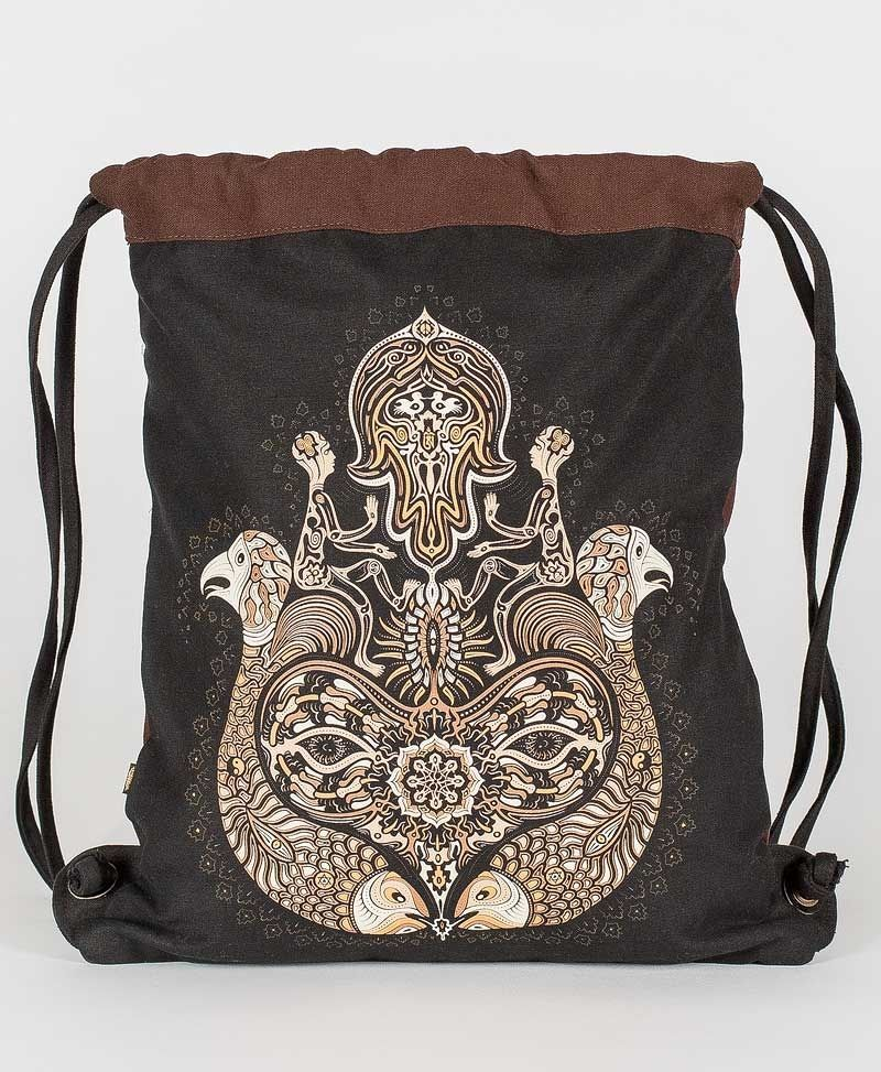Psy Trance Festival Drawstring Backpack Sack Bag Canvas Hamsa