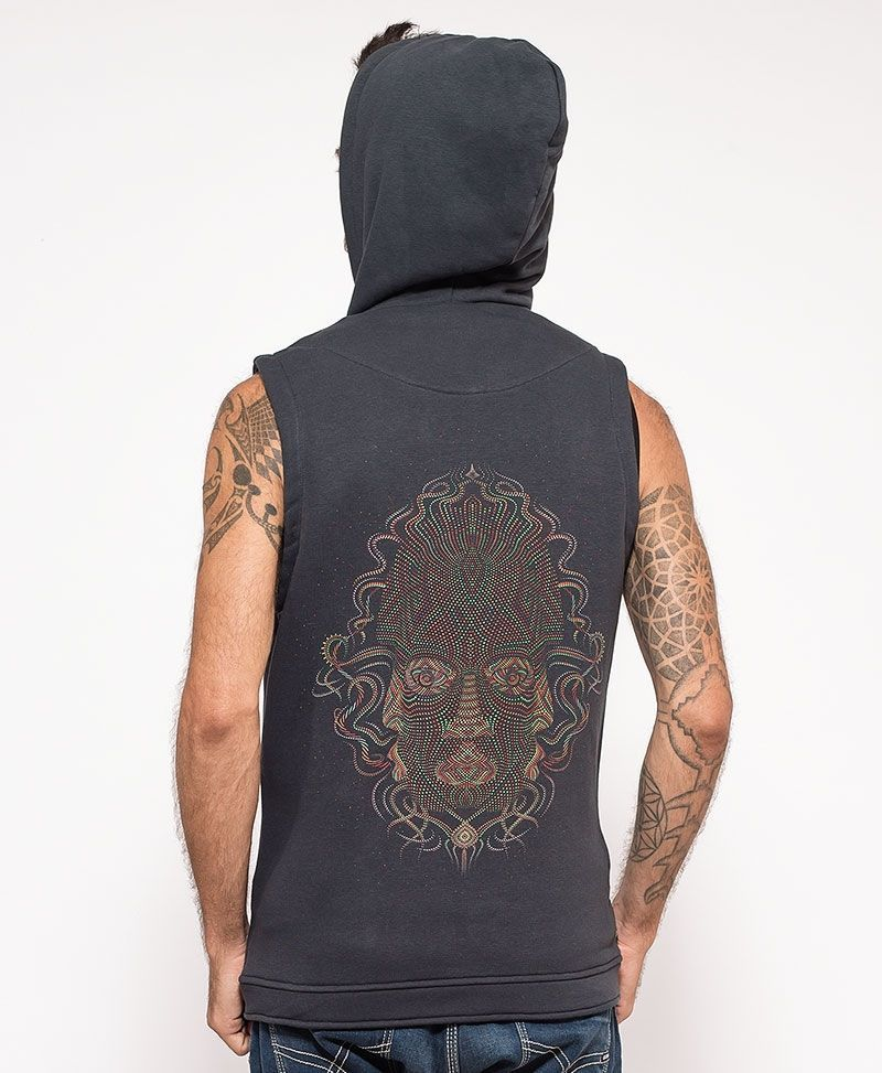 psychedelic clothing mens vest grey trimuri