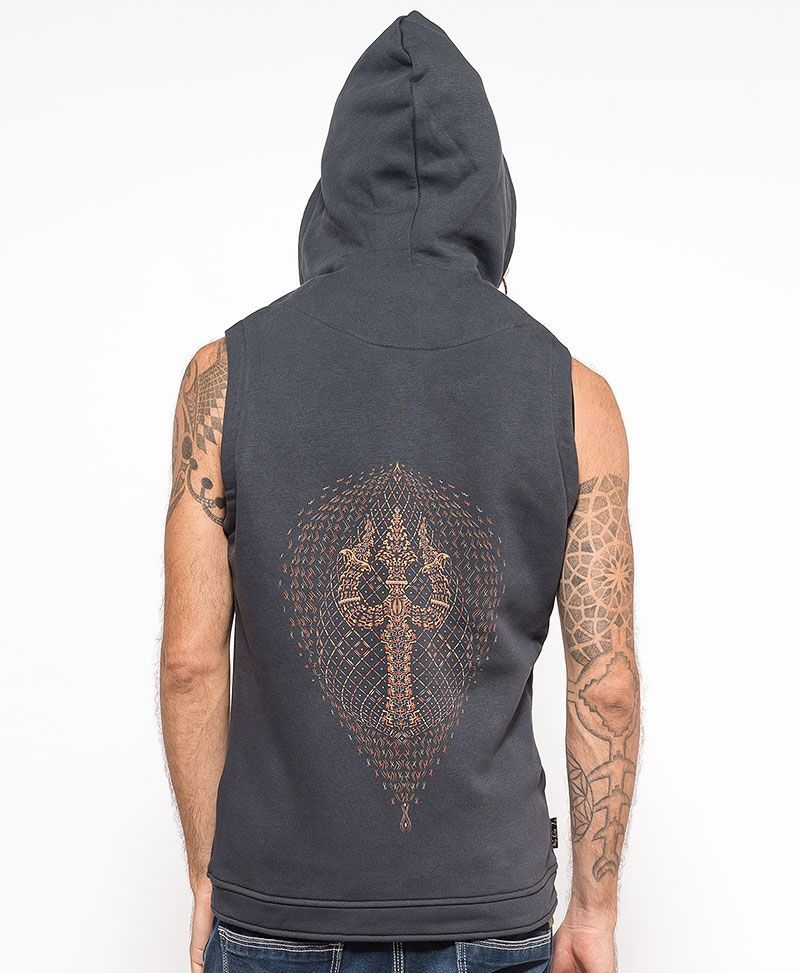 psychedelic clothing mens vest tribal trishul