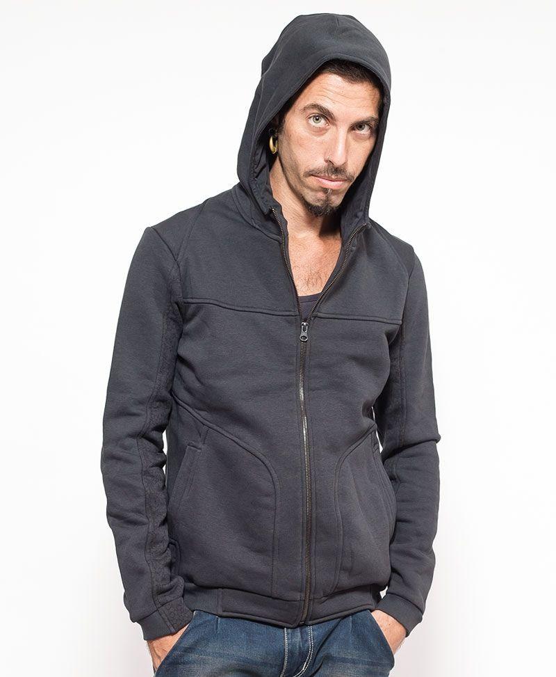 psychedelic clothing men hoodie jacket grey