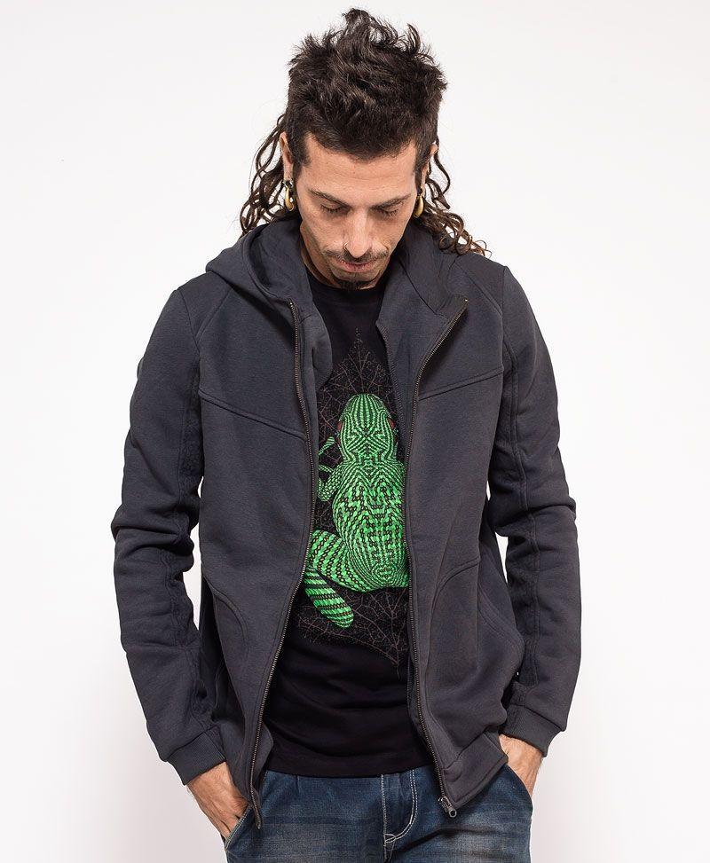psychedelic clothing men hoodie jacket black kambo
