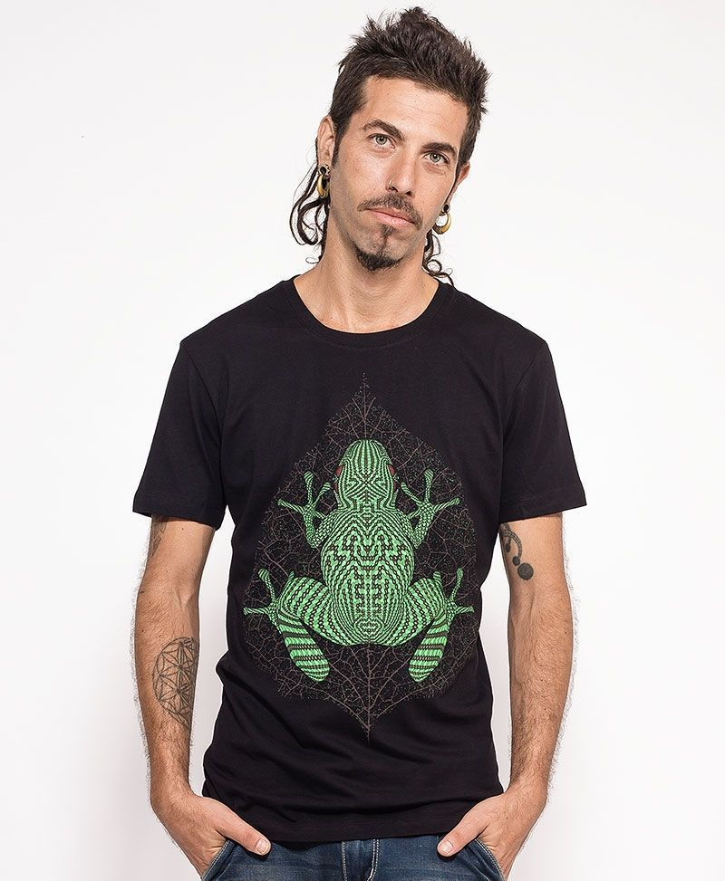 psychedelic clothing men t shirt black kambo