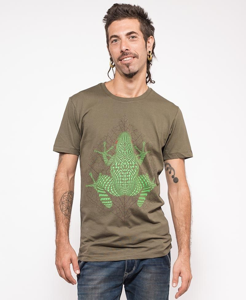 psychedelic clothing men t shirt olive kambo