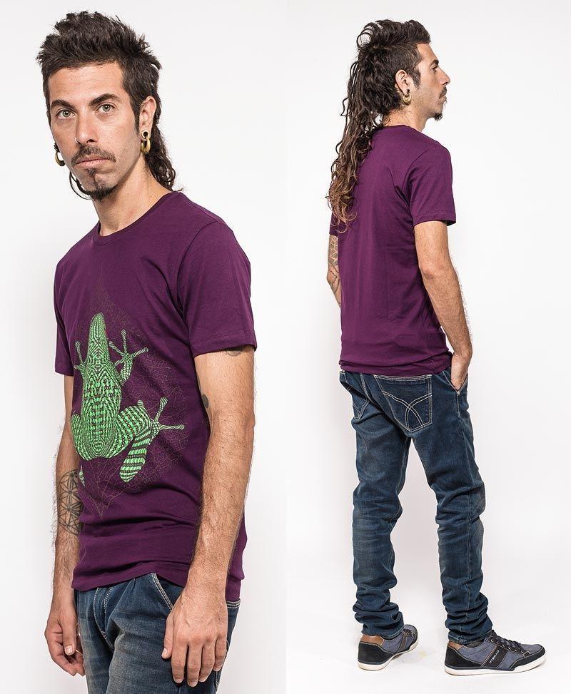 psychedelic clothing men t shirt purple kambo