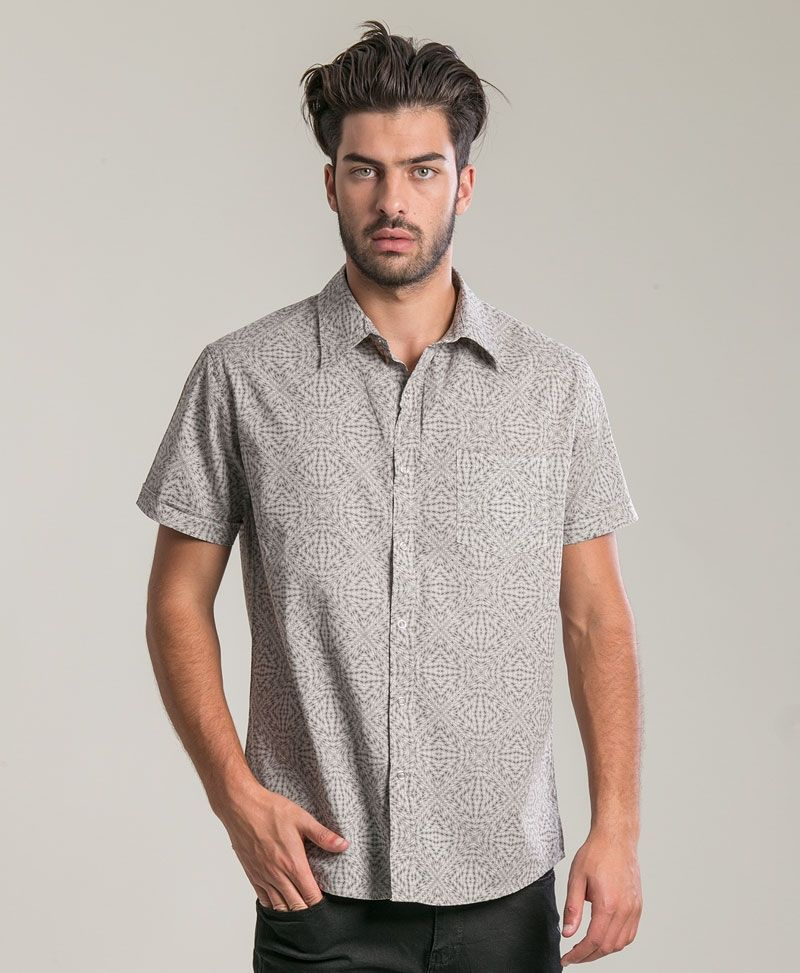 psychedelic clothing mens button up shirt light grey