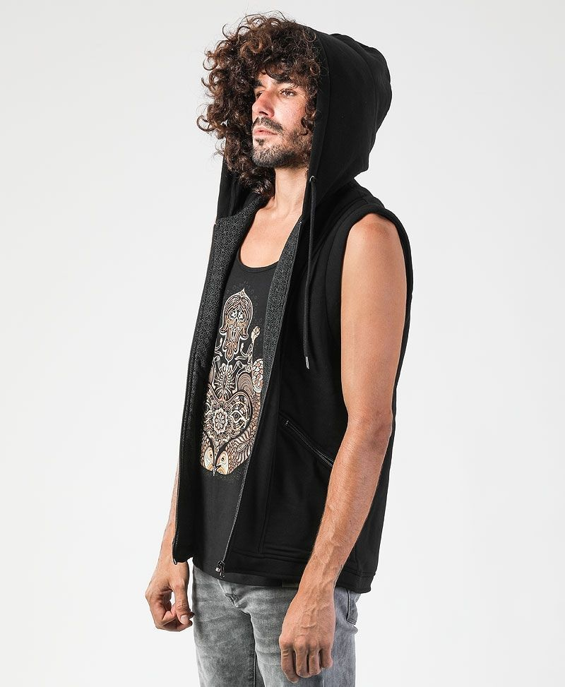 psychedelic clothing mens hamsa hood vest black