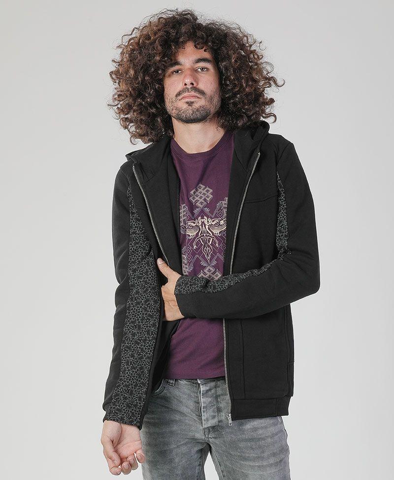 psychedelic clothing men hoodie jacket black hamsa