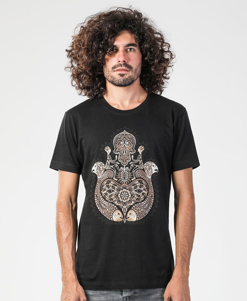 psychedelic clothing men hamsa t shirt black