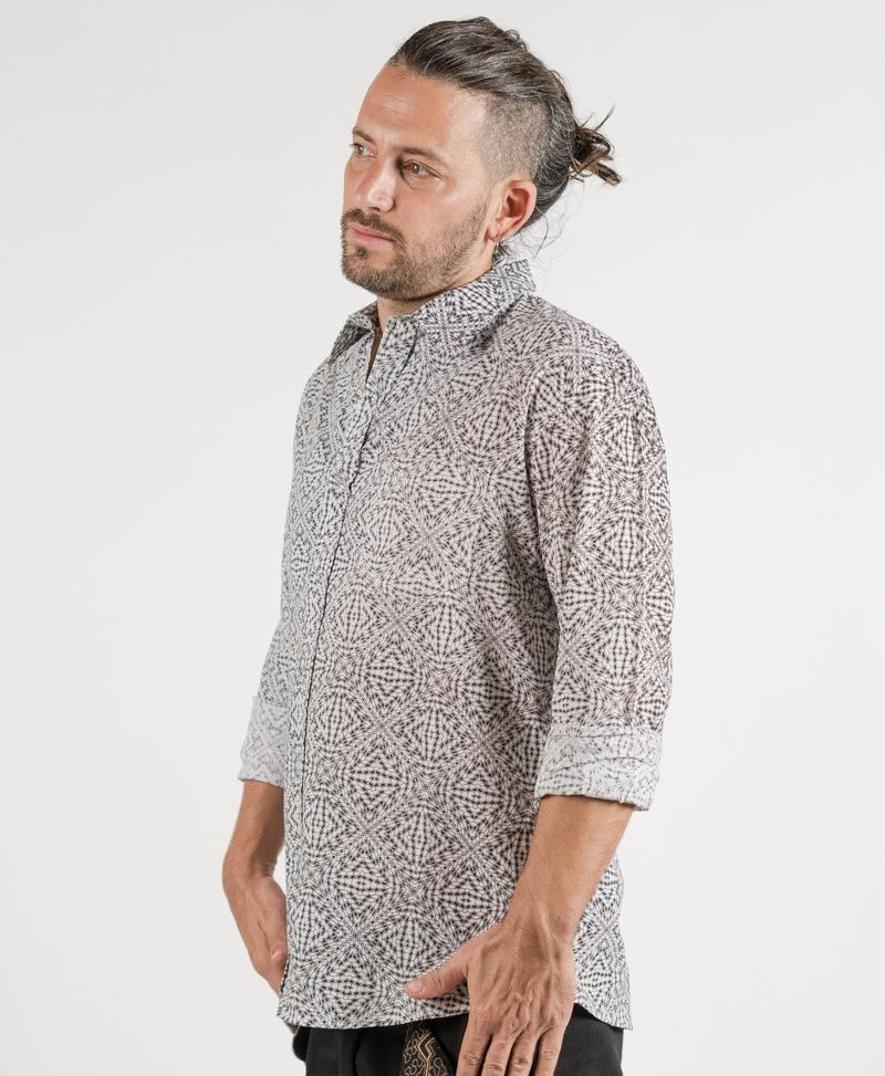psychedelic button up shirt long sleeve white