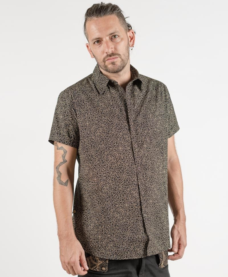psychedelic clothing mens button up shirts maze black