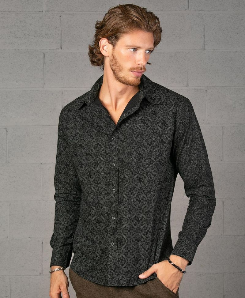 black button up shirt long sleeve men psychedelic clothing