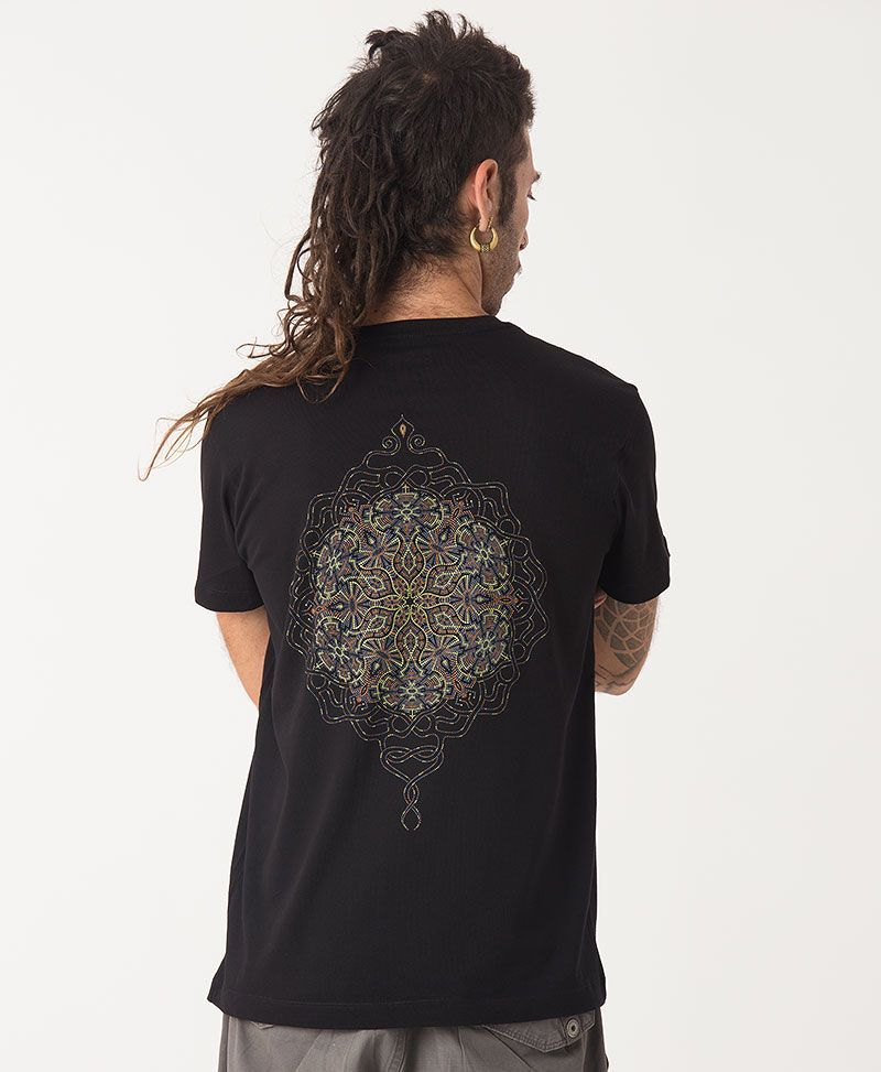 sacred geometry peyote mandala black t shirt men