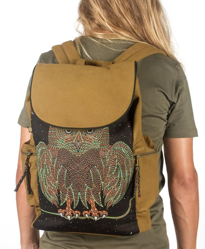 psychedelic canvas backpack for laptop flap back pack night owl bag