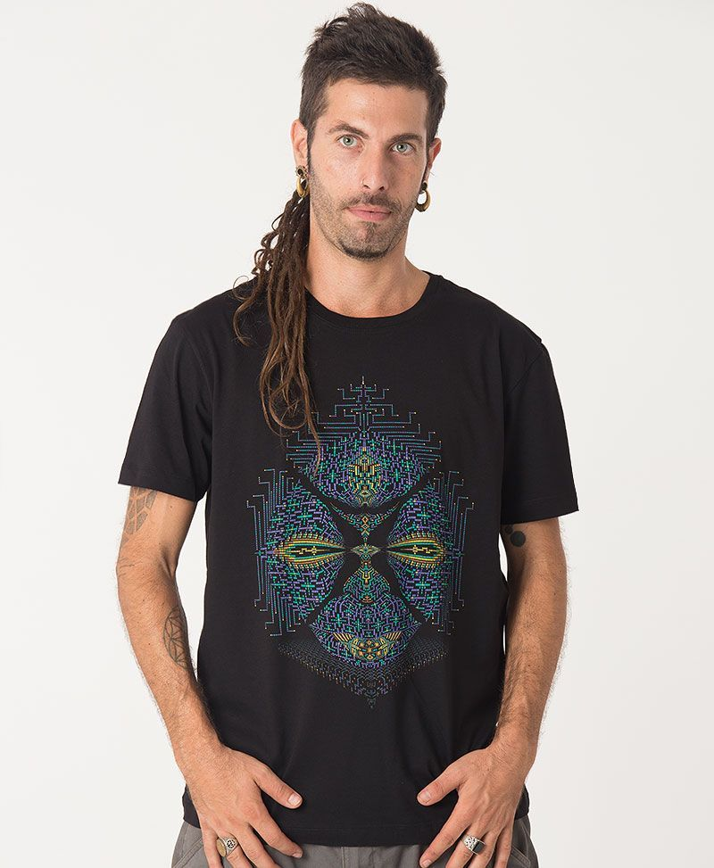 psychedelic black t shirt mens