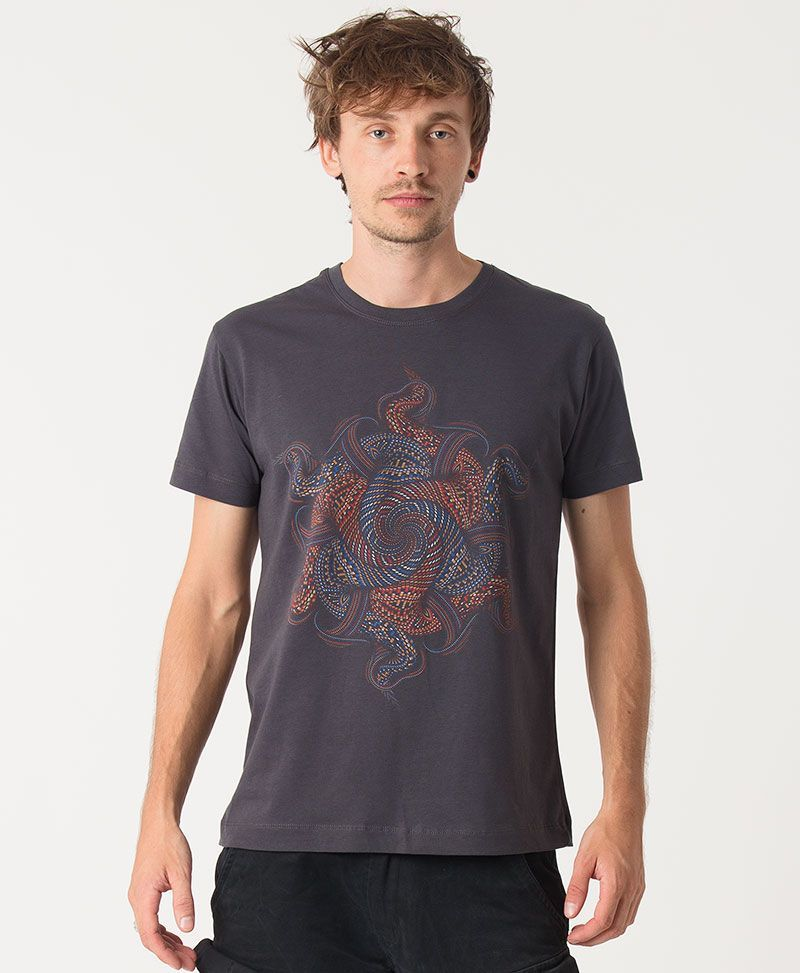psychedelic clothing men t shirt grey