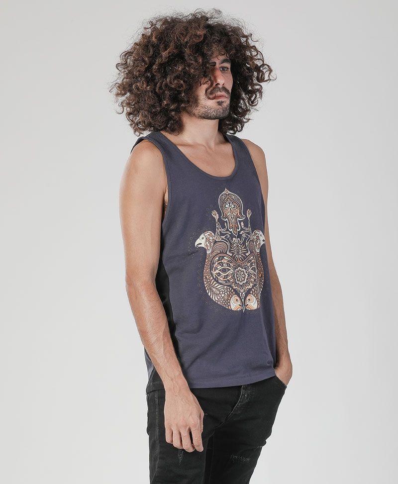 Psytrance Shirts Hamsa singlet for man - black and grey