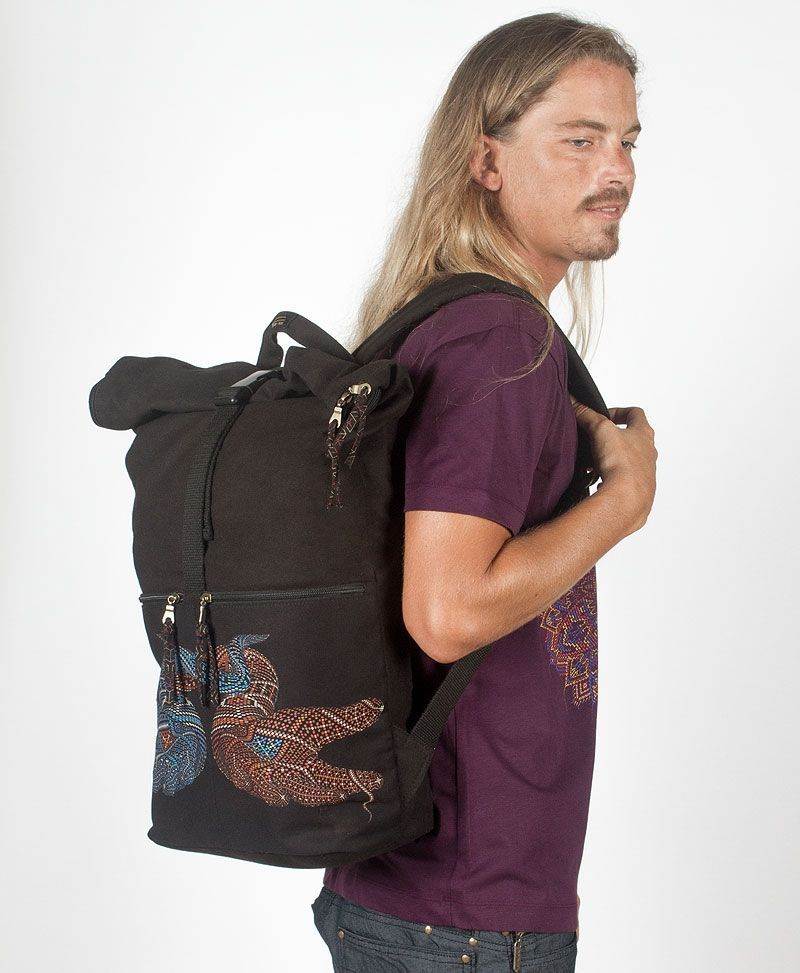 psy trance canvas roll top backpack for laptop Black Travel Back Pack
