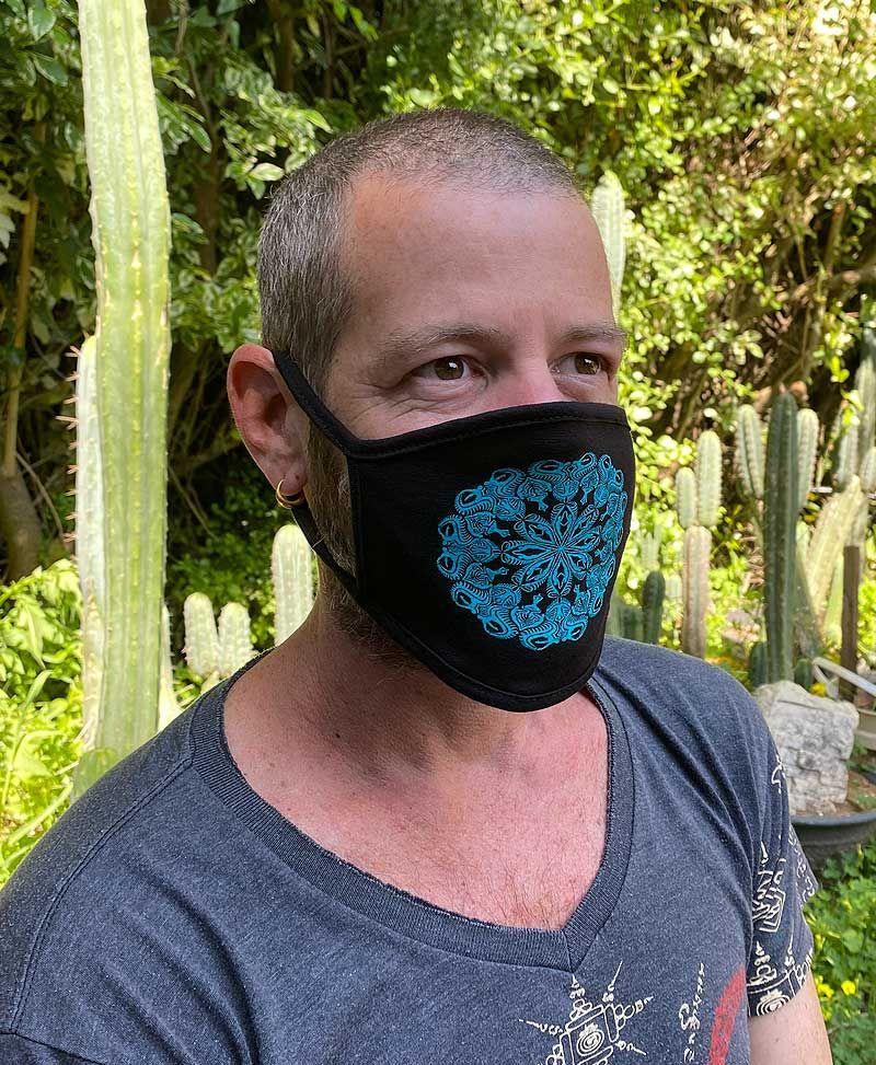 Psytrance Festival Black Face Mask Psychedelic Mandala