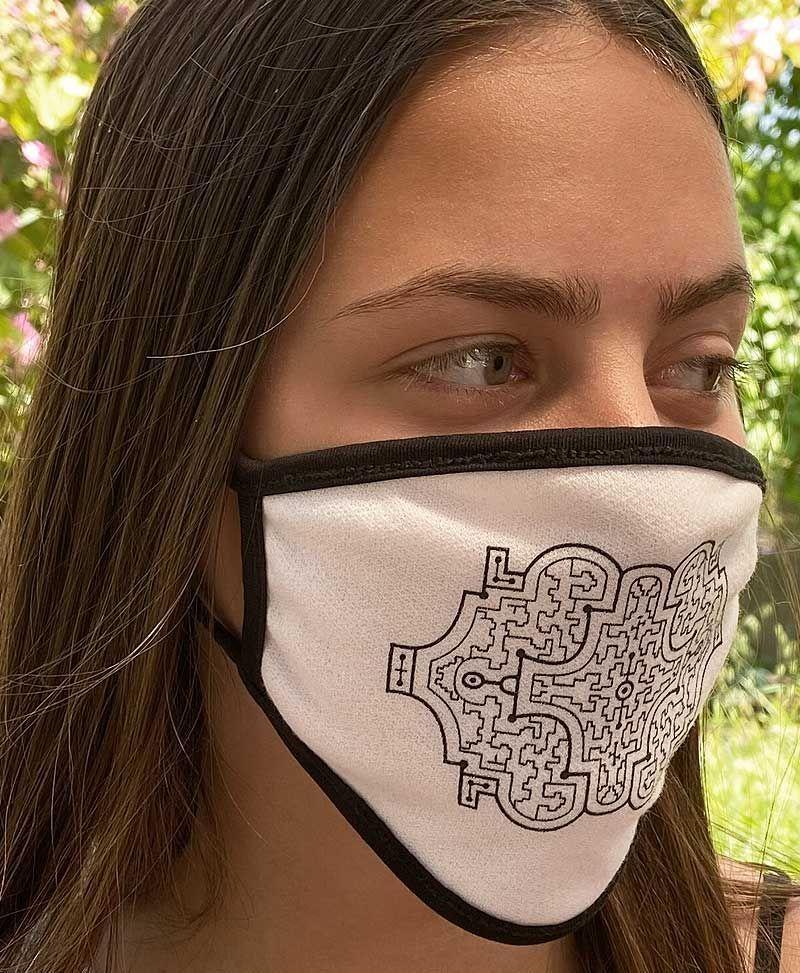 shipibo face mask white