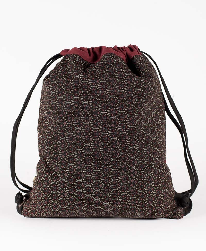 Kubic Drawstring Backpack ➟ Black & Maroon