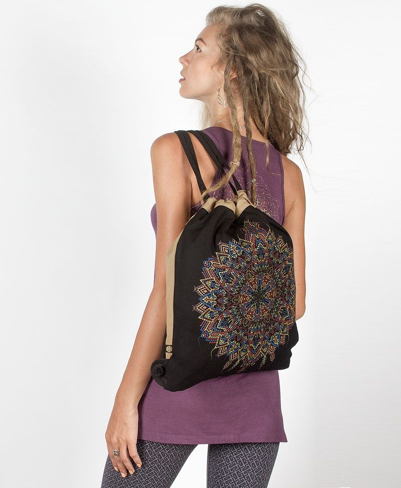 Mexica Drawstring Backpack ➟ Black & Stone