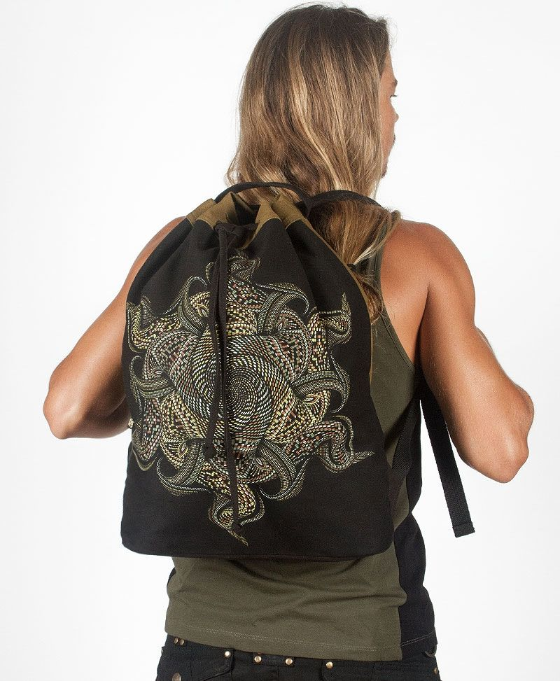 Vortex / Khaki ➟ Padded Straps Drawstring Backpack