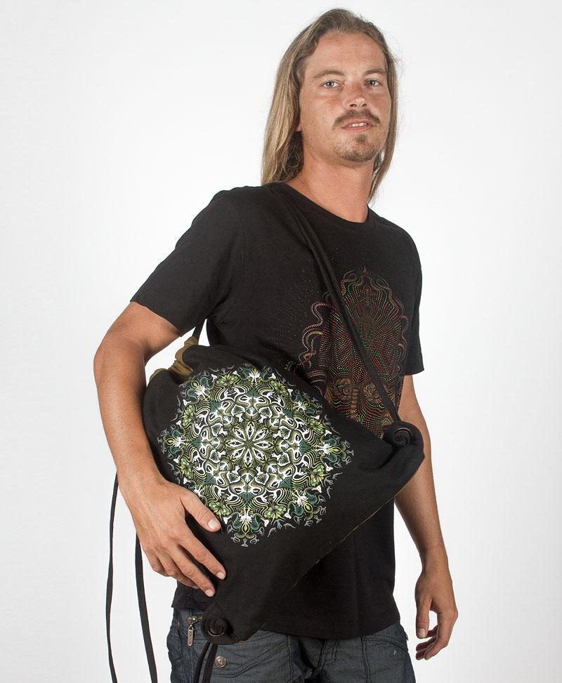 Lotusika Drawstring Backpack ➟ Black & Khaki