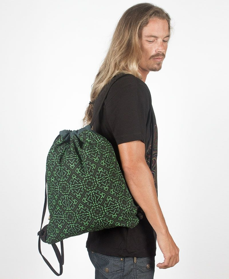 Hexit Drawstring Backpack ➟ Black & Green
