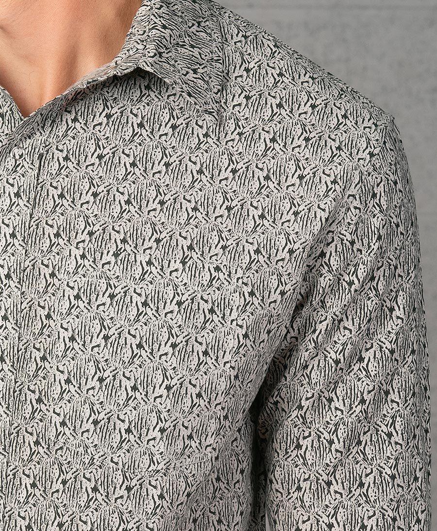 Peach Long Button Shirt ➟ Light Grey