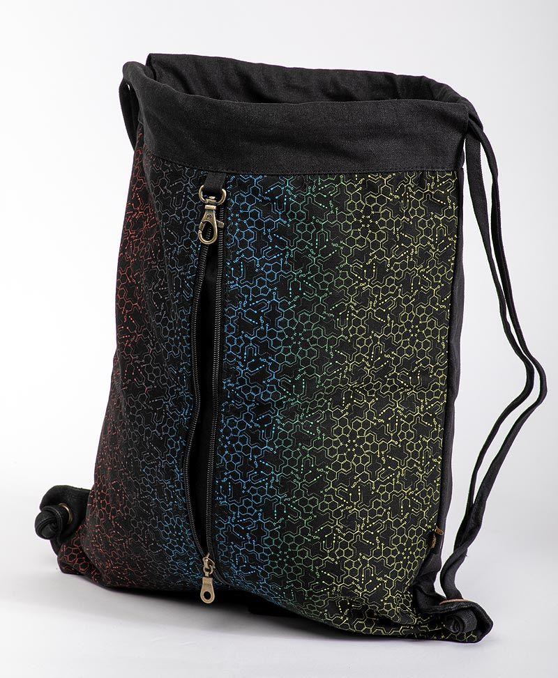 LSD Molecule Drawstring Backpack ➟ Black