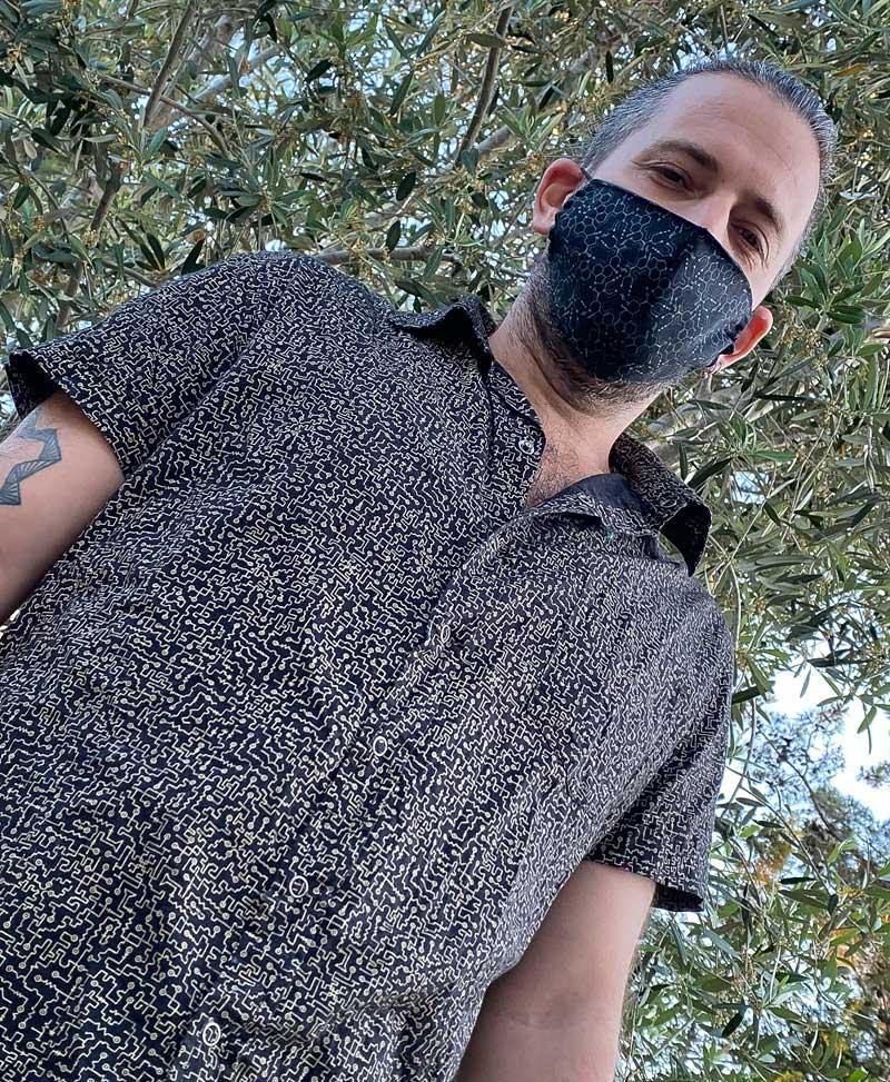 LSD Molecule Face Mask ➟ Full Print / Blue Green