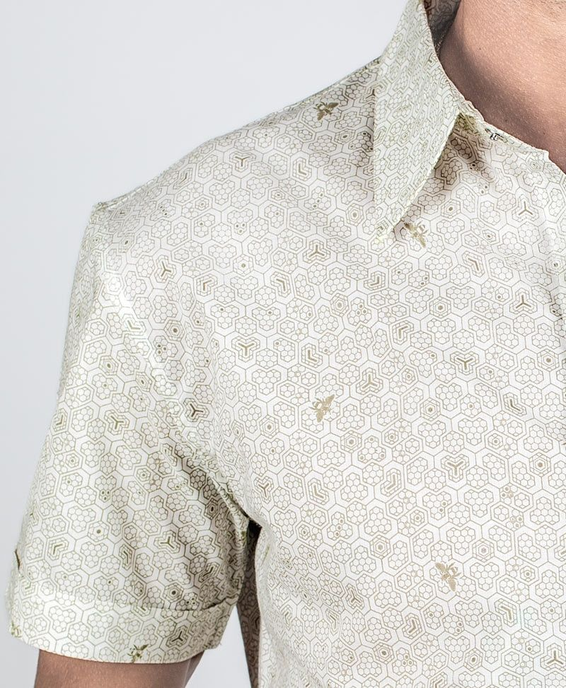 Bees Button Shirt ➟ White
