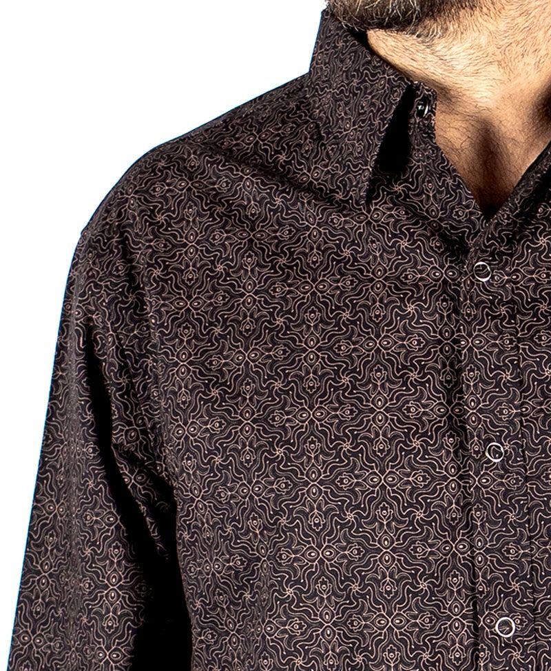 Hamsa Long Button Shirt ➟ Black