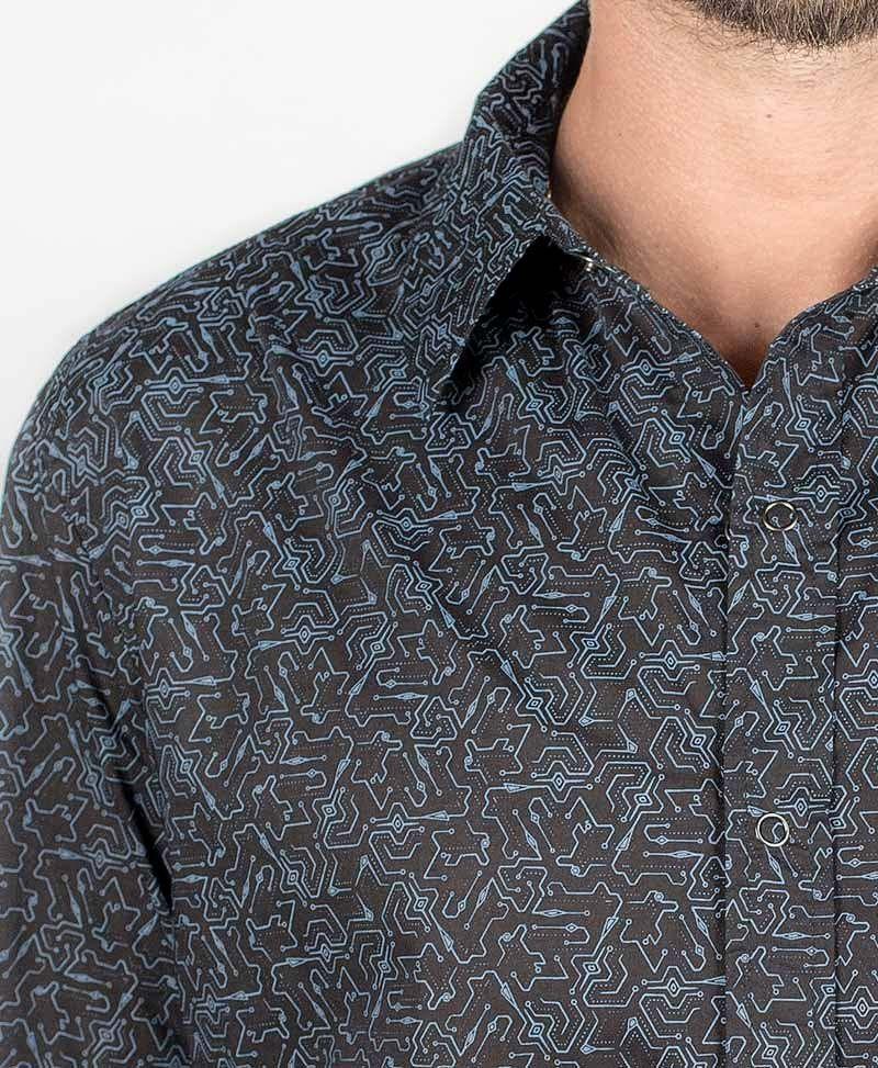 Plonter Long Button Shirt ➟ Black