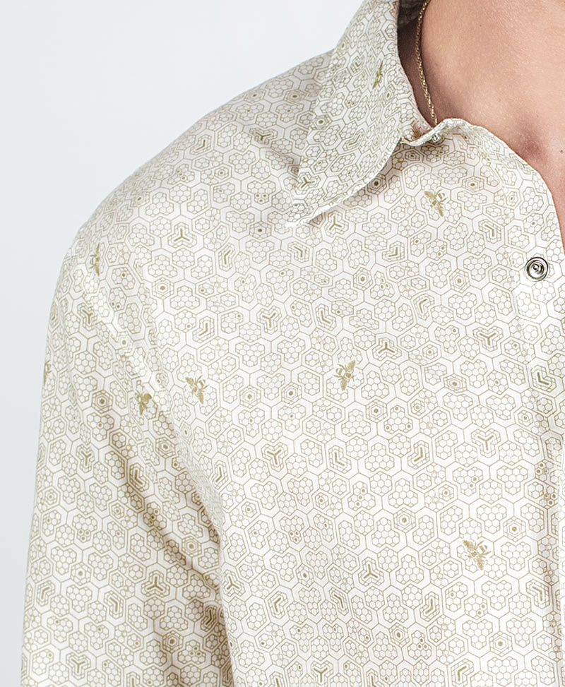 Bees Long Button Shirt ➟ White