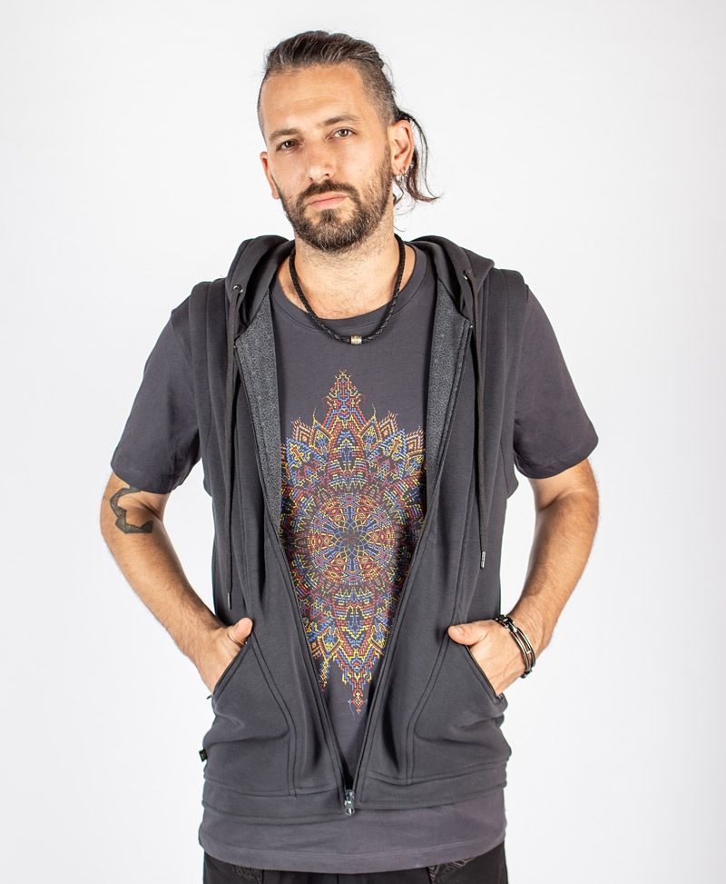 Mexica Hooded Vest ➟ Grey
