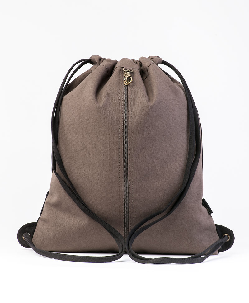 Sikuli Drawstring Backpack ➟ Black & Grey