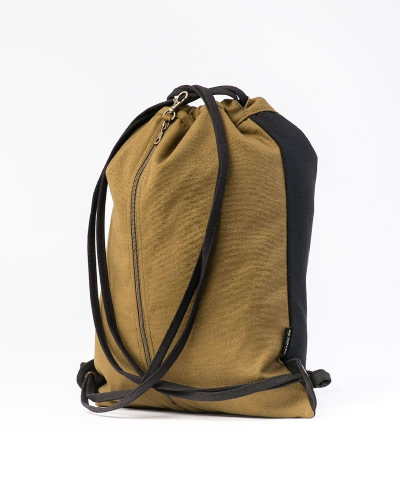 Uhloo Drawstring Backpack ➟ Black & Khaki