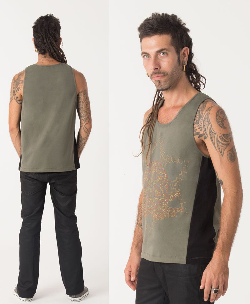 Anahata Tank Top ➟ Green + Black