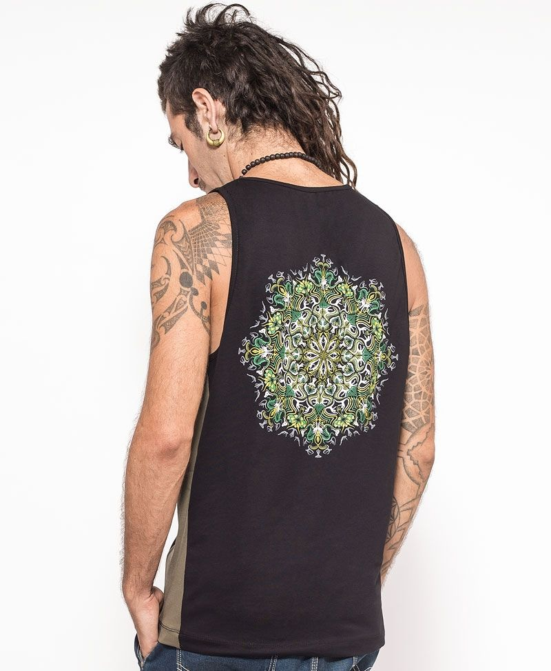 Lotusika Tank Top ➟ Green + Black
