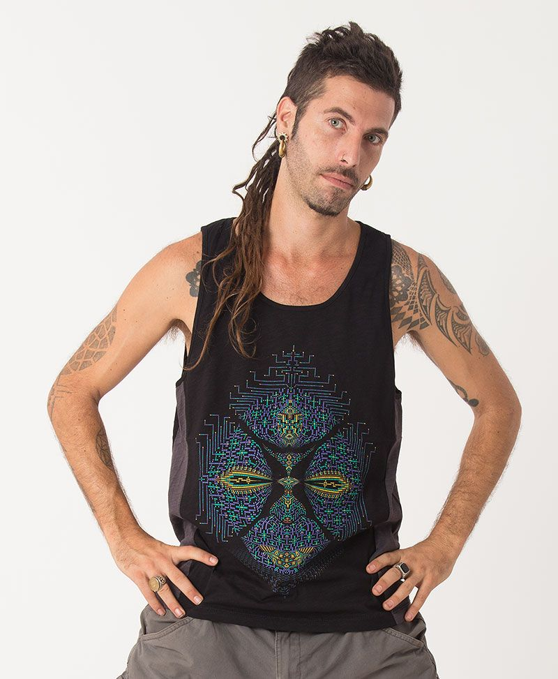 Sikuli Tank Top ➟ Grey + Black