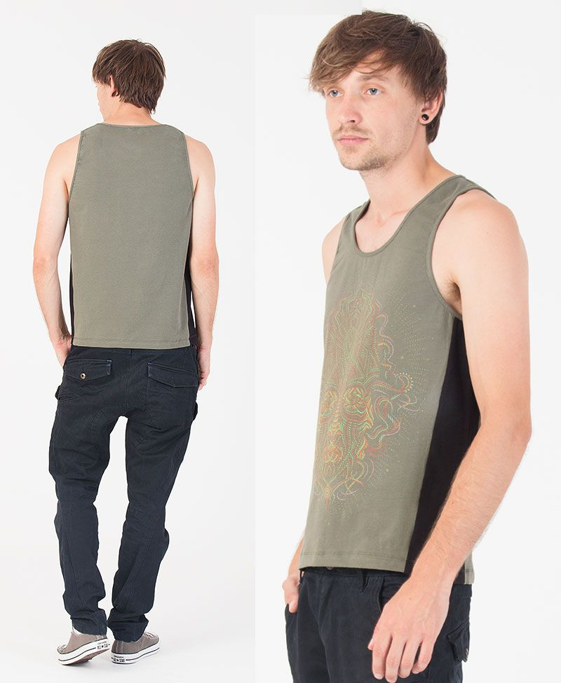 TriMurti Tank Top ➟ Green + Black