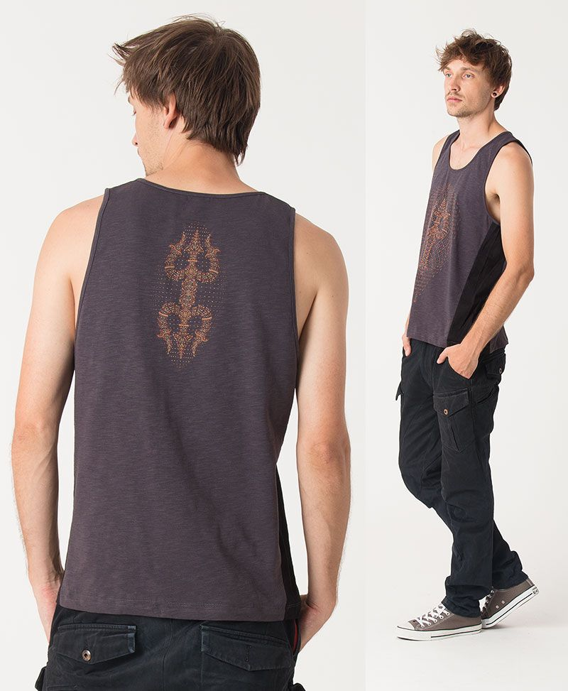 Trishula Tank Top ➟ Grey + Black